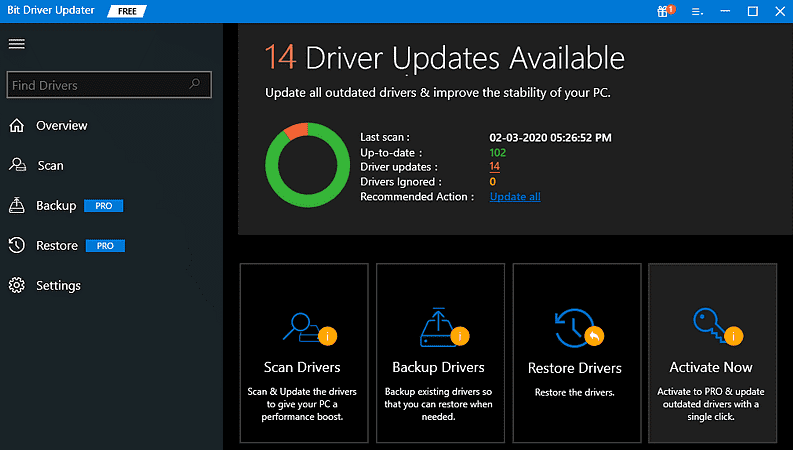 Bit Driver Updater find the problematic drivers