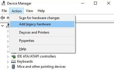 Add Legacy Hardware from the context menu list