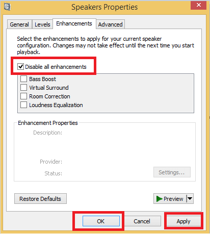 Disable All Enhancements from Speaker Properties