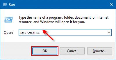 Type services.msc Run box