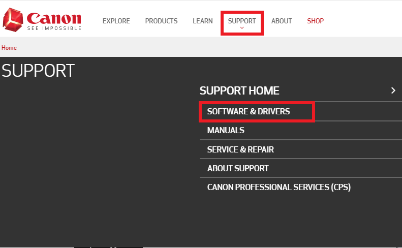 Canon support software & drivers