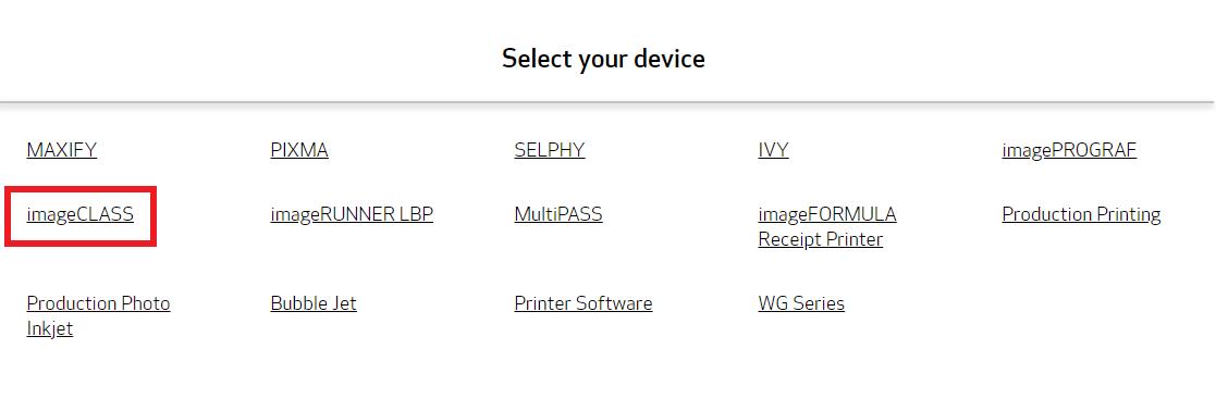 Choose Device imageClass