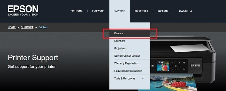 Place your mouse pointer over the Support option