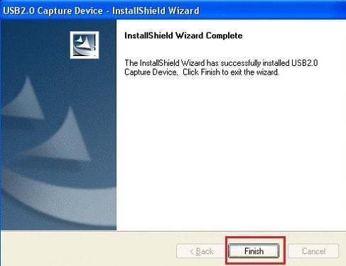 Finish Capture Device Driver Installation