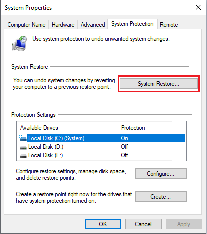 System Restore Option