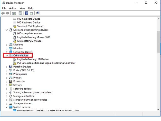 Right-click on PCI Data Acquisition and Signal Processing Controller and select Update Driver