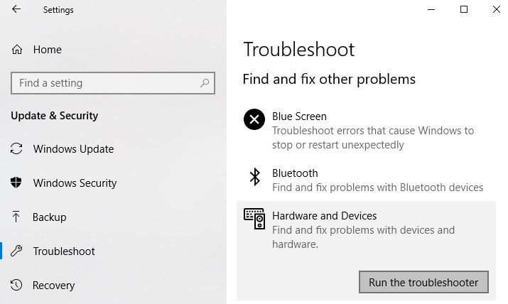 click Run the Troubleshooter