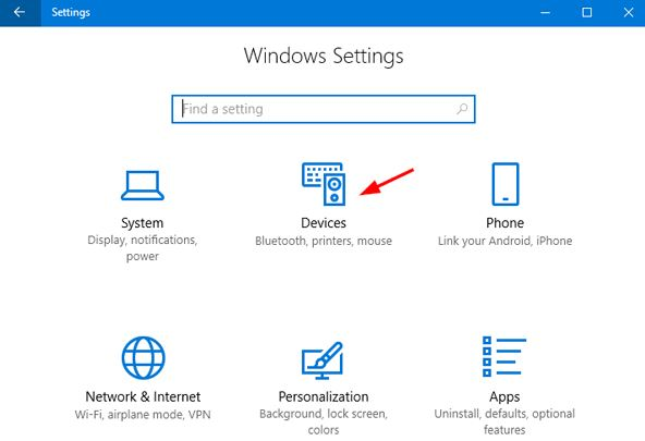 Choose Devices Option in Windows Settings