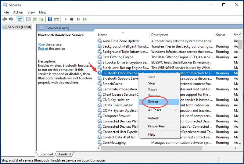 Restart Bluetooth Support Service