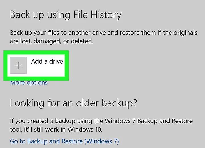 click on the 'add a drive' option