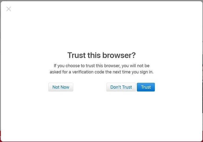 Select any option for trust the browser