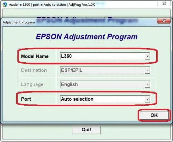 select your printer's Model Name and Port