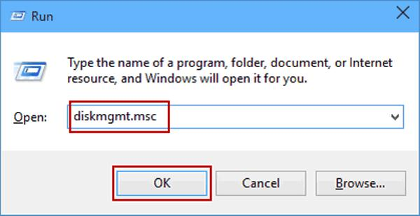 open the run command and Type diskmgmt.msc