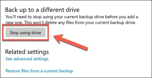 clicking on the 'Stop using this drive