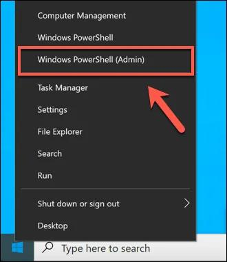 click on the 'Windows PowerShell (Admin)