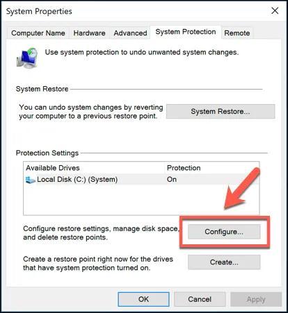 click on the 'Configure' button