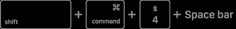 Press and hold 'Shift', 'Command', '4', and 'Space' bar