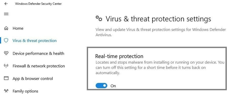 toggle off the Real-time protection