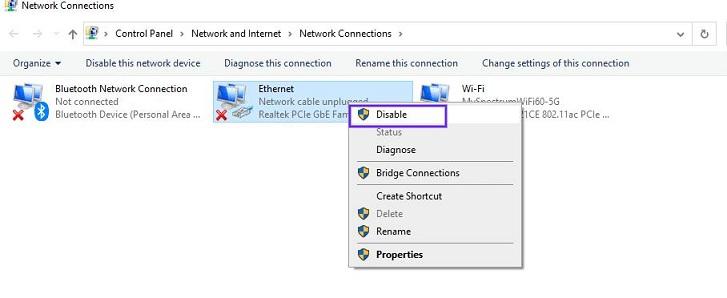 select the Disable option