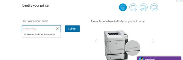 input the product or model name of your HP printer
