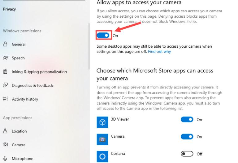 Allow apps to access your camera