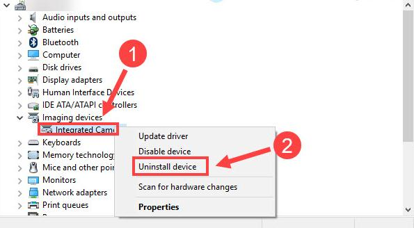 choose Uninstall device