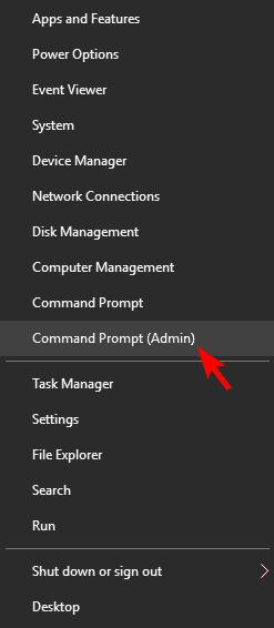 choose the Command Prompt (Admin)