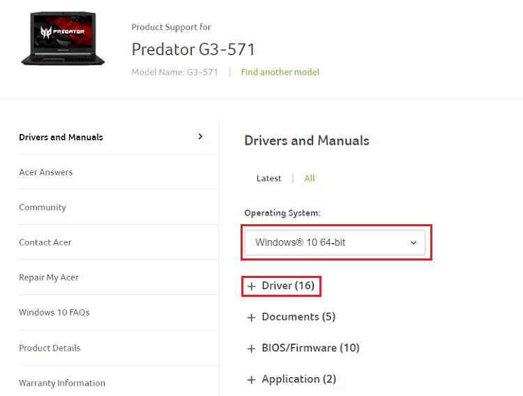 choose os and select driver for Acer Predator Helios 300 device