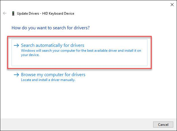 click on Search automatically for drivers