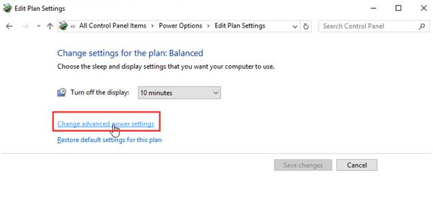 click on the Change advanced power settings