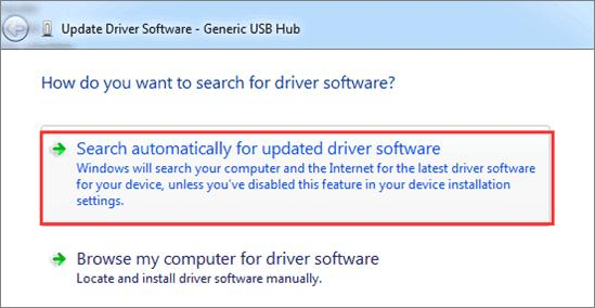 Click On The Search automatically for updated driver software
