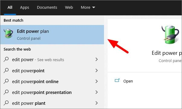 Type Edit Power Plan And Select