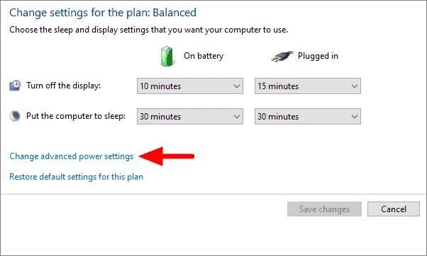 Click On Change Advanced Power Settings