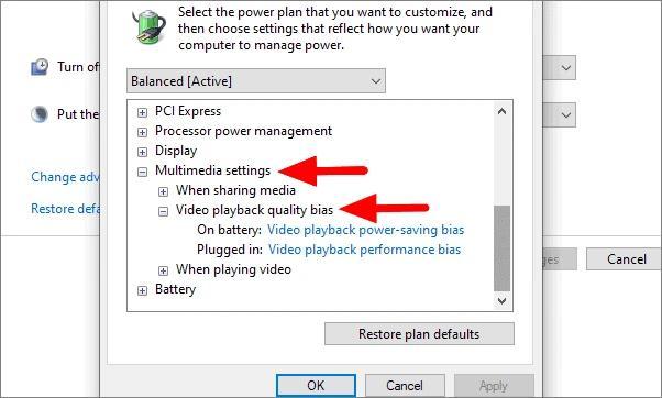Multimedia settings
