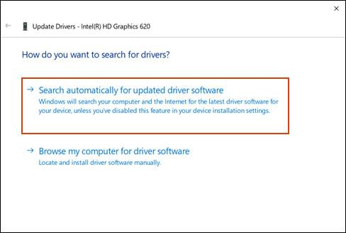 Click the Search automatically for updated driver software