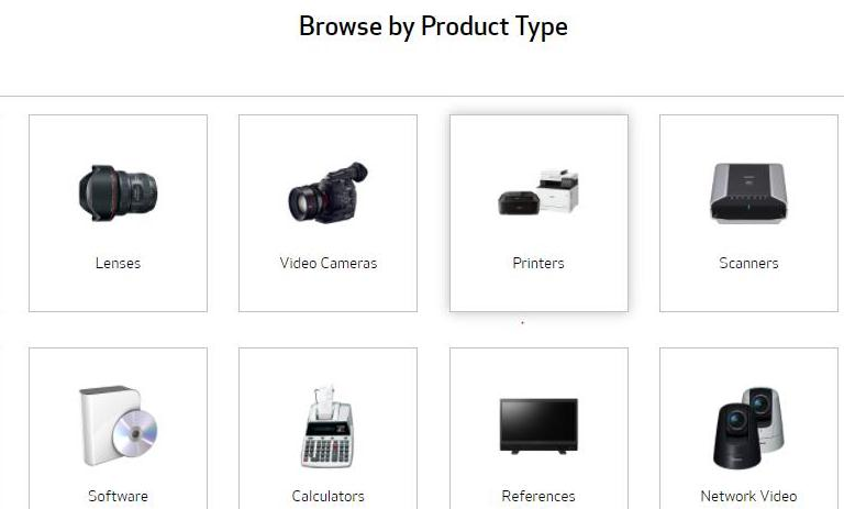 choose printers under the Browse by Product Type