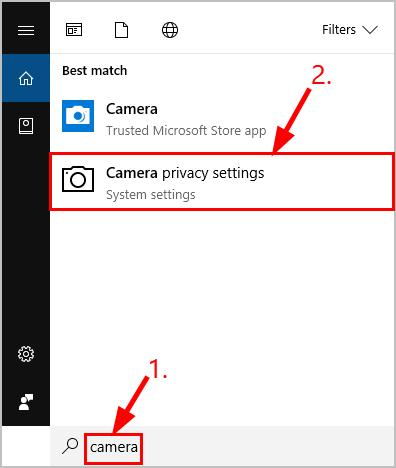 choose the Camera privacy settings