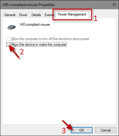 uncheck the Allow the computer to turn off this device to save power option