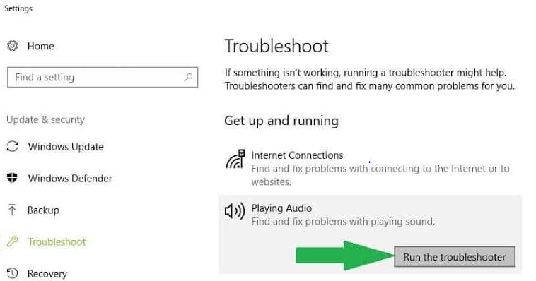 click on the Run the Troubleshooter
