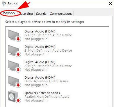 go to the Playback tab
