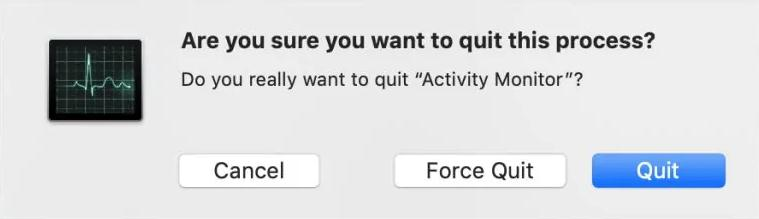 click on OK or Force Quit