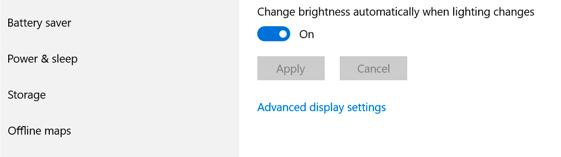 Change brightness automatically when lighting changes