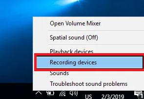 select the Recording Devices option