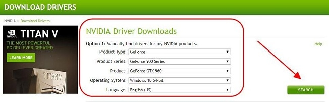 Search driver for GeForce GTX 960 graphics card