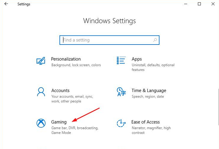Gaming Option in Window Settings