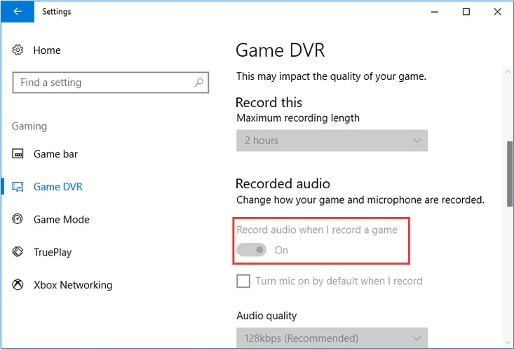 Switch off Record Audio When I Record a Game