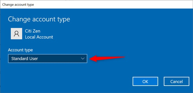 Change Administrator Account Type