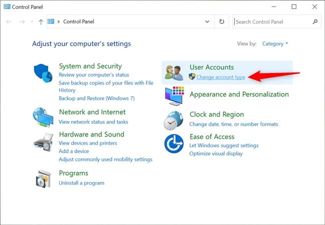 Change User Account Type Option