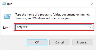 Type Netplwiz in Run Utility