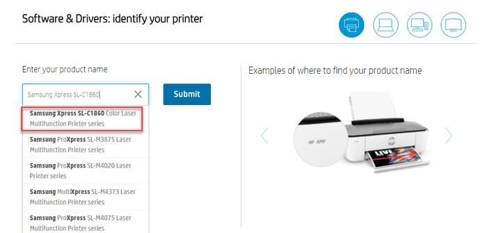 Select Samsung Printer Model